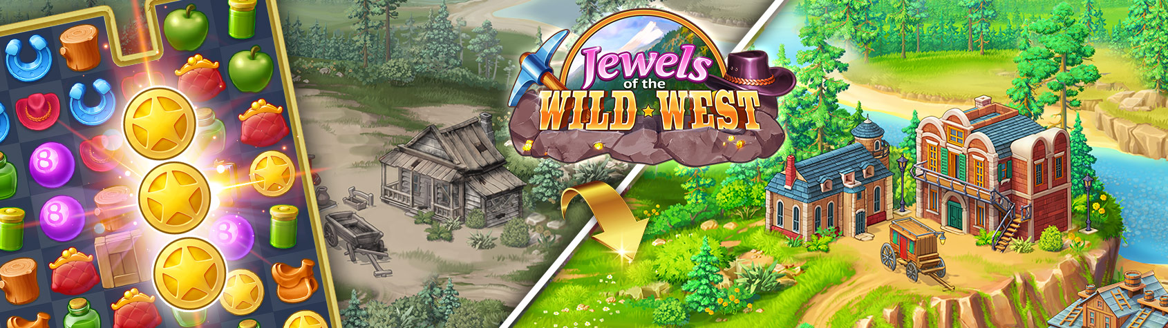 Jewels of the Wild West™: Match gems & restore the town