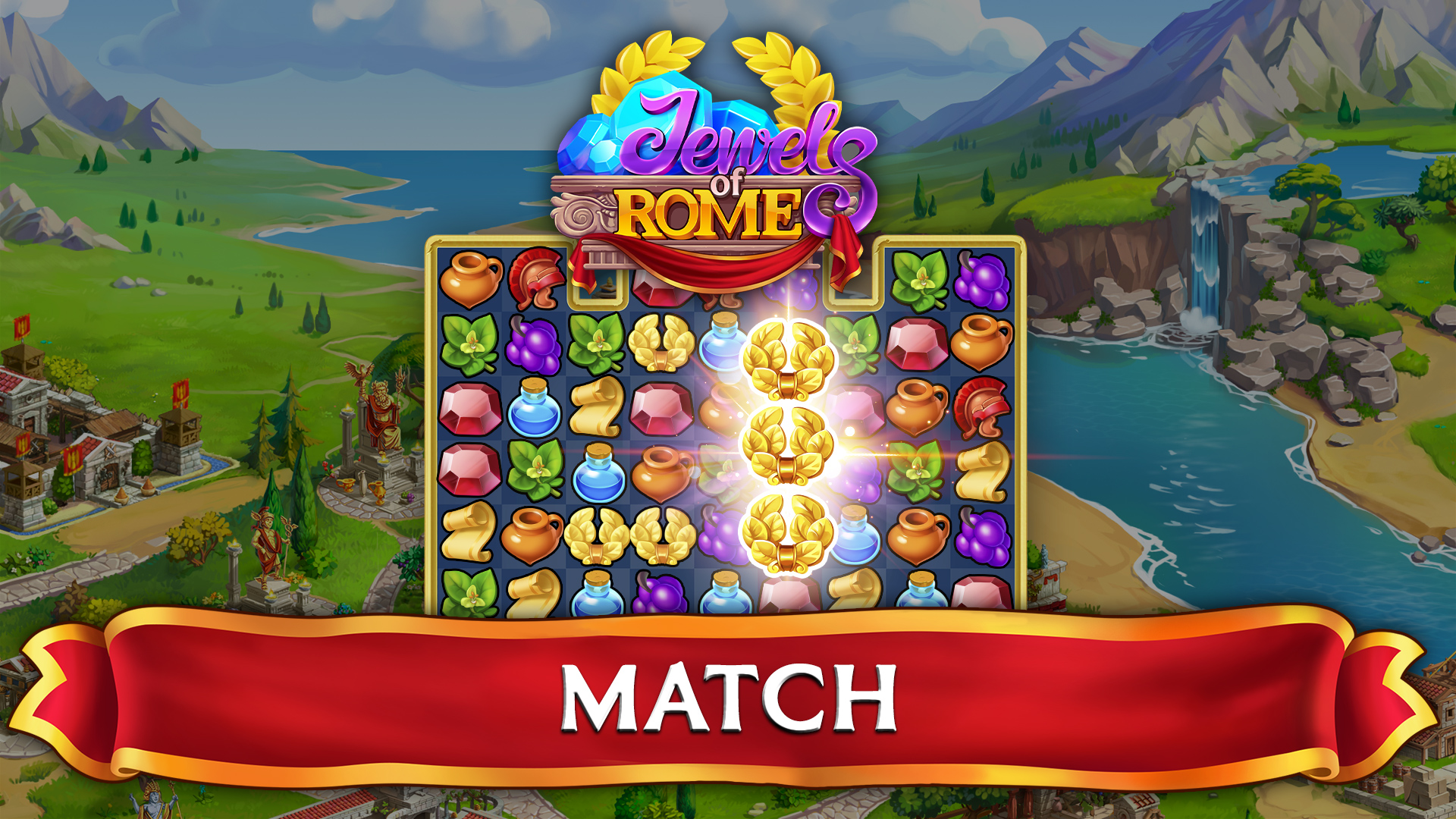 Jewels of Rome: Match 3 Puzzle and City Building Game