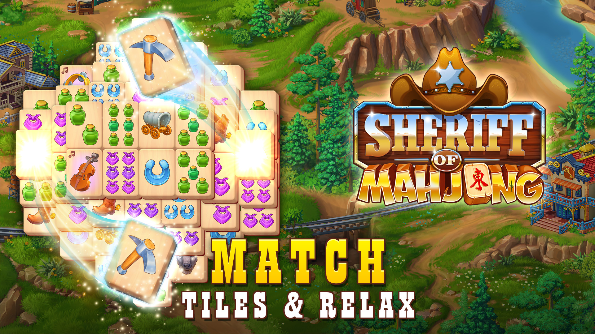 Sheriff of Mahjong: Match tiles & restore a town