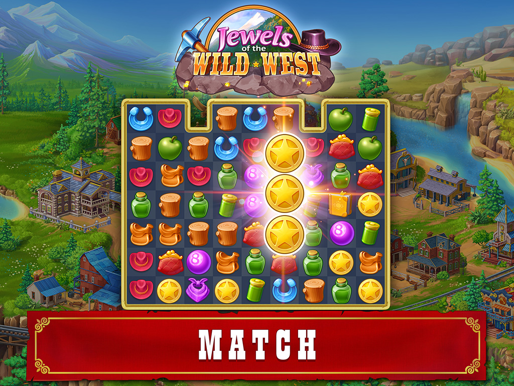 Jewels of the Wild West: Match 3 Puzzle & City Building Game